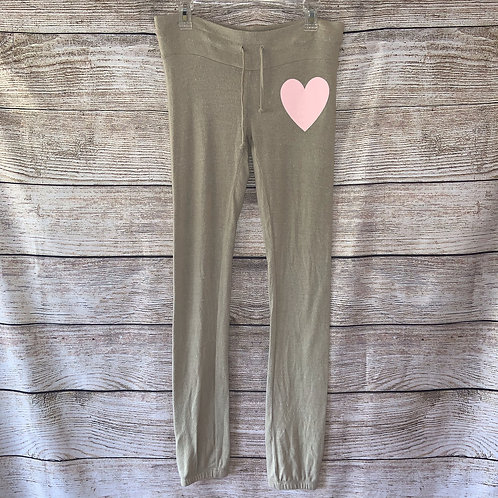 Wildfox Tan Joggers With Pink Heart
