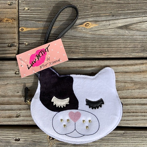 Betsey Johnson Luv Betsey Black & White Cat Coin Purse Wristlet