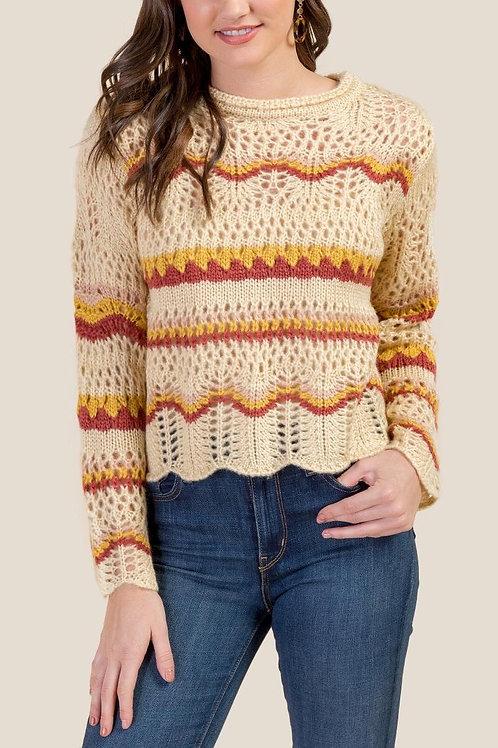Francesca's Laney Pointelle Striped Sweater
