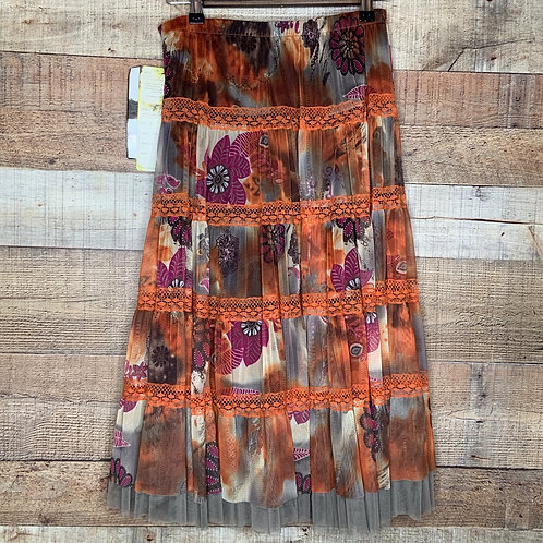 Lapis Boho Brown Orange Floral Lace Skirt