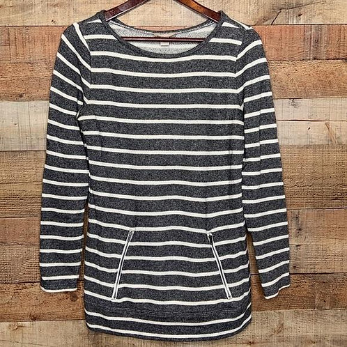Loft Striped Gray Knit Tunic With Pockets