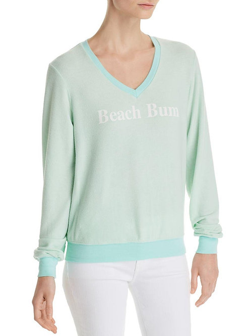 Wildfox BEACH BUM Graphic V-Neck Sweatshirt