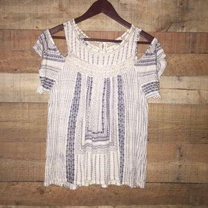 Lucky Brand Cold Shoulder Crocheted Top