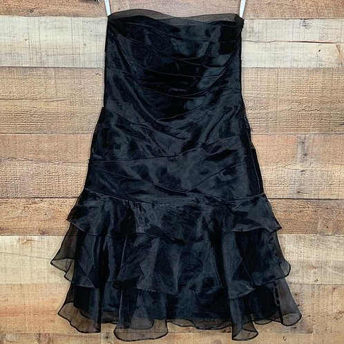 David's Bridal Strapless Organza Black Dress