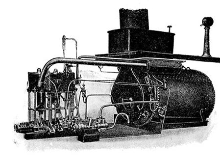 The boiler and condenser used to feed steam to the engine