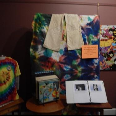 1968 Exhibit area displayingTie Dye and Album Covers