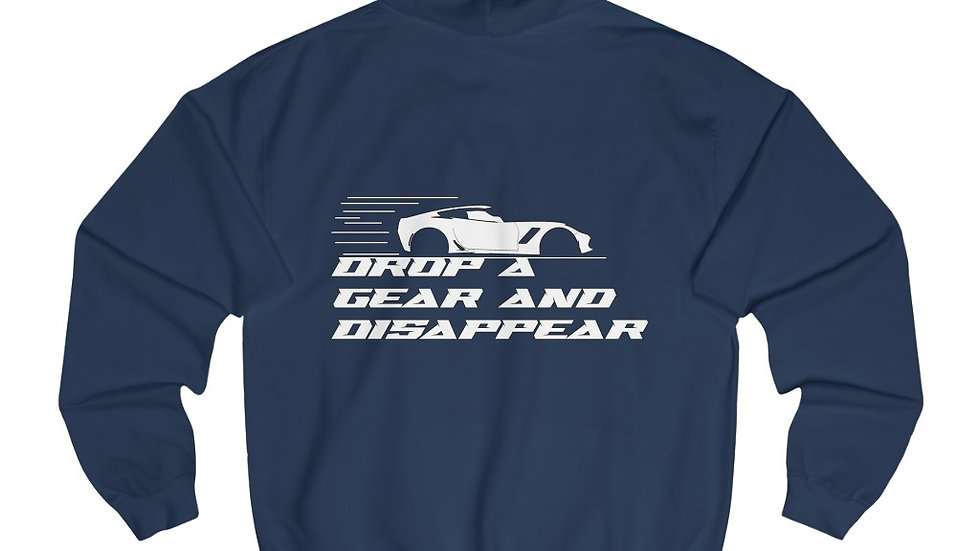 Downshifts 'Drop a gear and disappear' hoodies