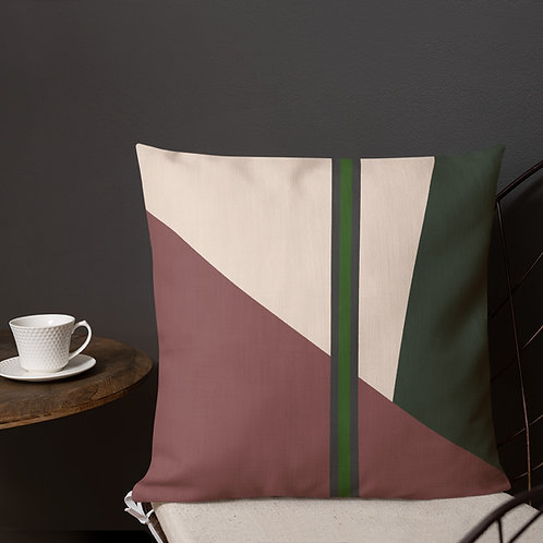 Green Line Block Print Premium Pillow