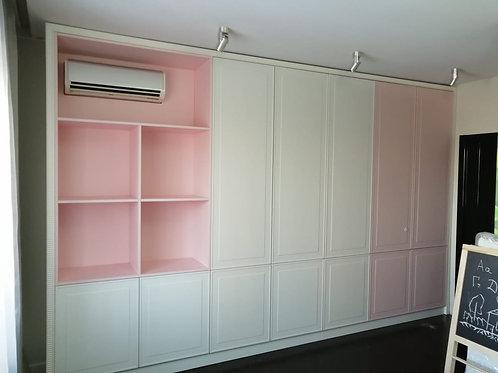шкаф фасады фрезерованные пвх пленка глубокий матовый, открытые полки мдф эмаль