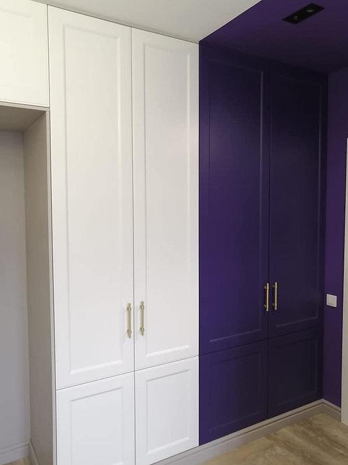шкаф распашной с антресолями фасады фрезерованная мдф эмаль