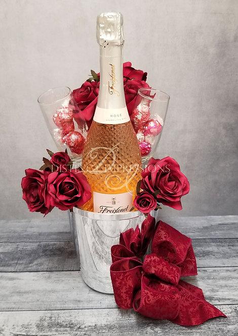 Valentine's Day Freixenet Sparkling Rose Wine Gift Bucket