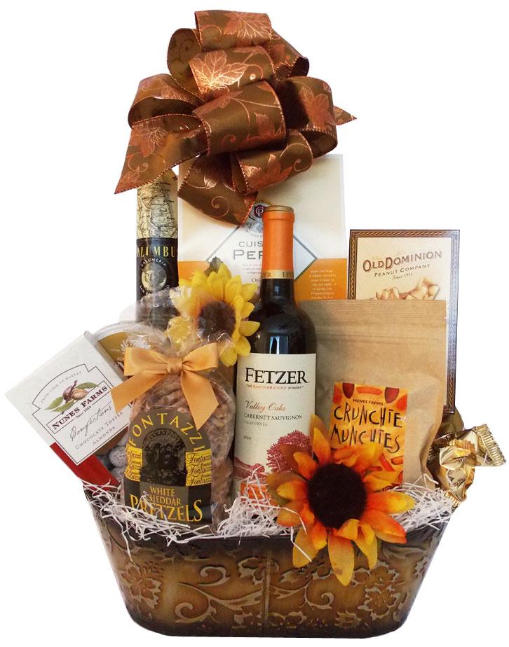 Custom Fall Wine Gift Basket