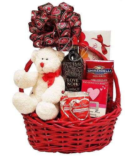 Valentine's Day Wine and Gourmet Chocolates Gift Basket