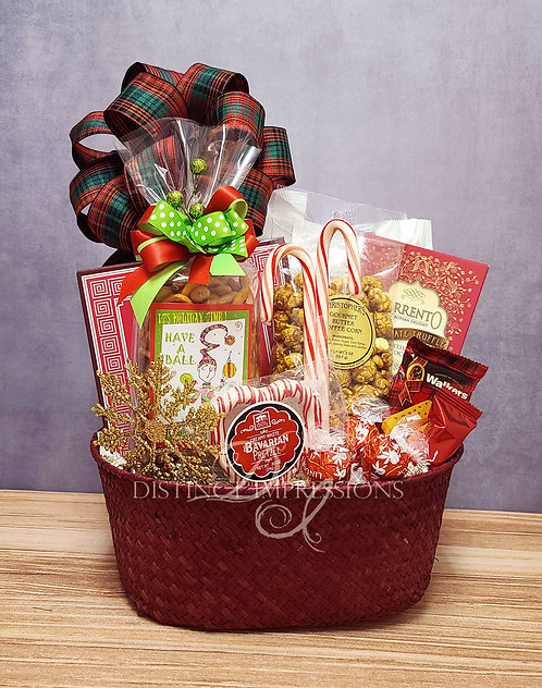 Seasons Greetings Snack Gift Basket for the Holidays