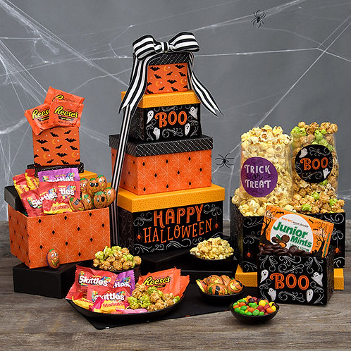 Happy Halloween Candy and Snacks Tower