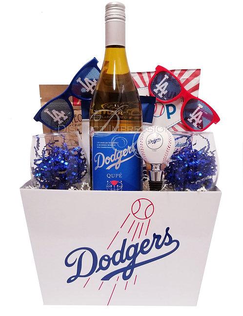 LA Dodgers Baseball Chardonnay Wine Gift Basket