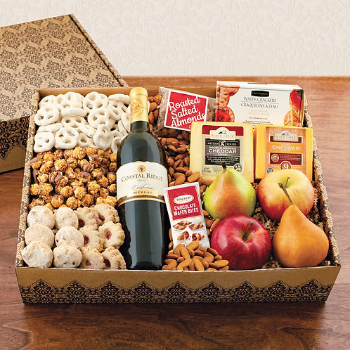 Magnificent Merlot, Fruit, Cheese & Gourmet Gift Box