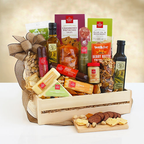 Ultimate Hickory Farms Wooden Crate Filled with Meat and Cheese