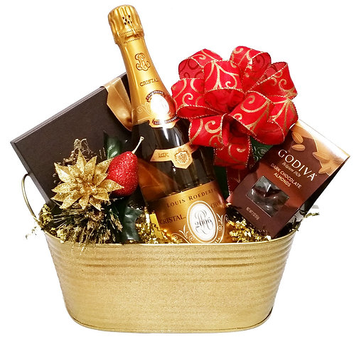 Happy Holidays - Cristal Champagne and Chocolates Gift Basket