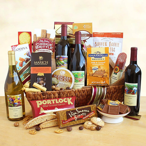 California Dreaming Gift Basket with Wine and Gourmet
