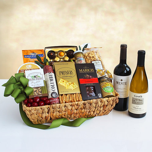 Epicurean Wente and Groth Gourmet Wine Gift Basket