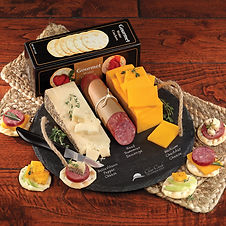 Corporate Buiness Gifts with Cheese and Sausage on a Branded Cutting Board