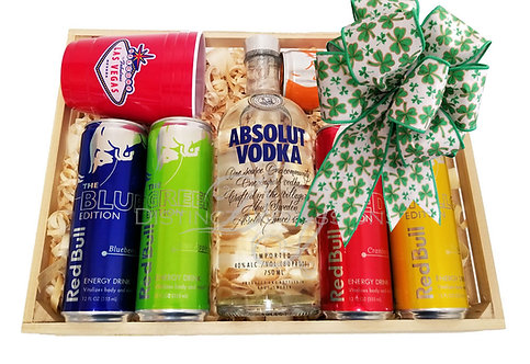 St. Patrick's Day Absolut Vodka and Red Bull Gift Crate