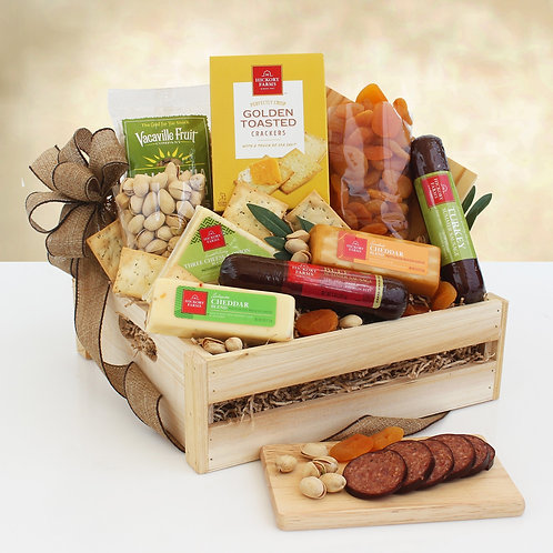 Petite Wooden Crate Filled with Meat, Cheese and Crackers