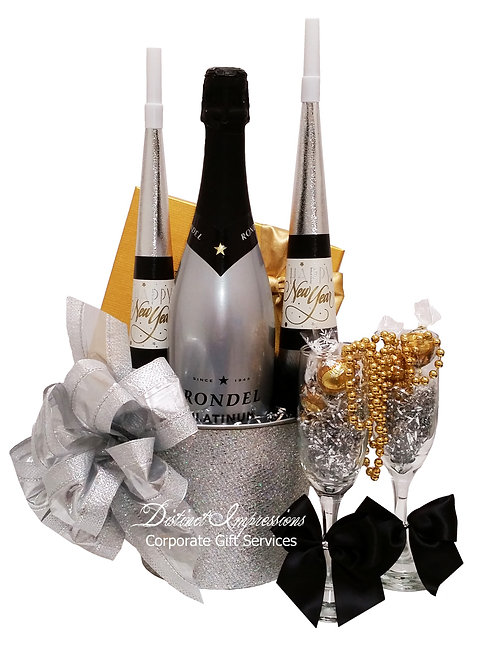 Silver and Gold New Year's Eve Champagne Gift