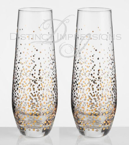 Stemless Wedding Champagne Flutes (Set of 2)