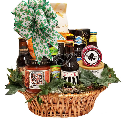 St. Patrick's Day Craft Beer and Snacks Gift Basket