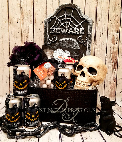 Evil Pumpkin Halloween Beer Gift Basket