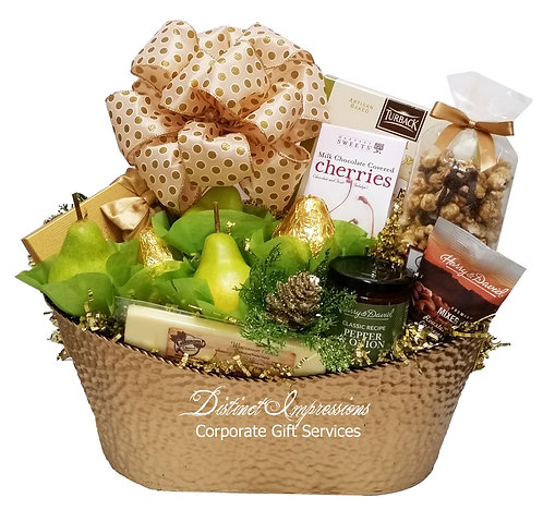 Golden Holiday Fruit and Gourmet Gift Basket