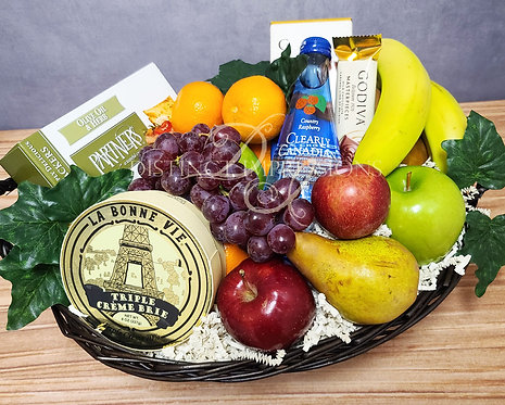Classic Fresh Fruit, Cheese and Crackers Basket