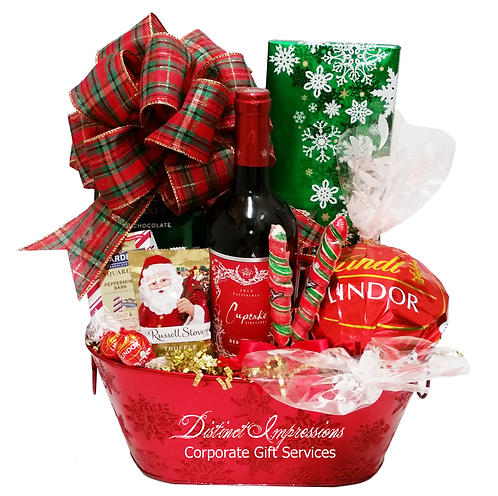 Holiday Wine and Chocolate Gift Basket