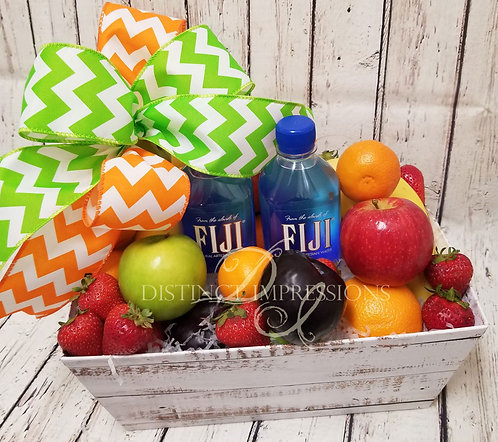 Classic Fresh Fruit and Fiji Water Gift Basket