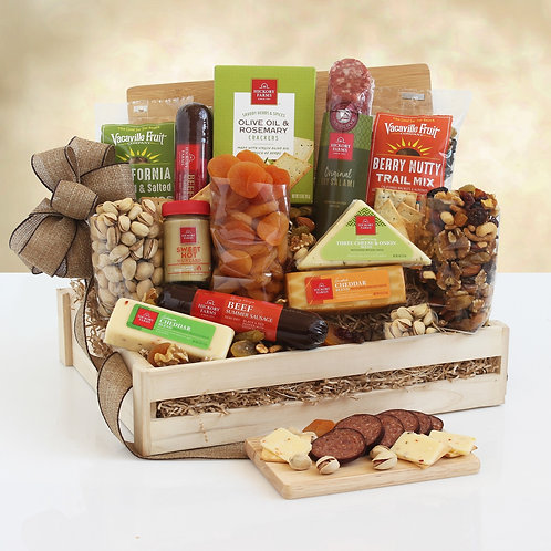 Deluxe Hickory Farms Wooden Crate Filled with Meat, Cheese and Crackers
