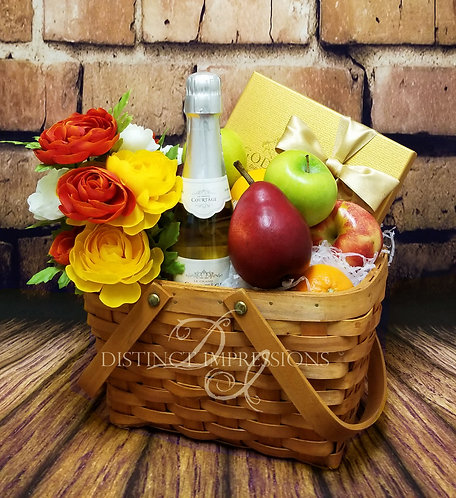 Fall Harvest Fruit and Champagne Gift Basket