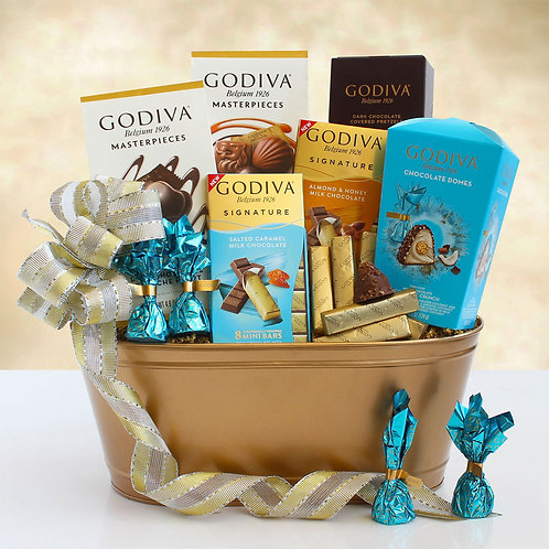 Golden Holiday Godiva Chocolate Gift Tin