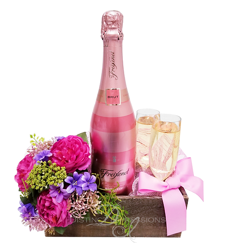 I Do - Wedding Sparkling Wine and Fresh Flowers Gift