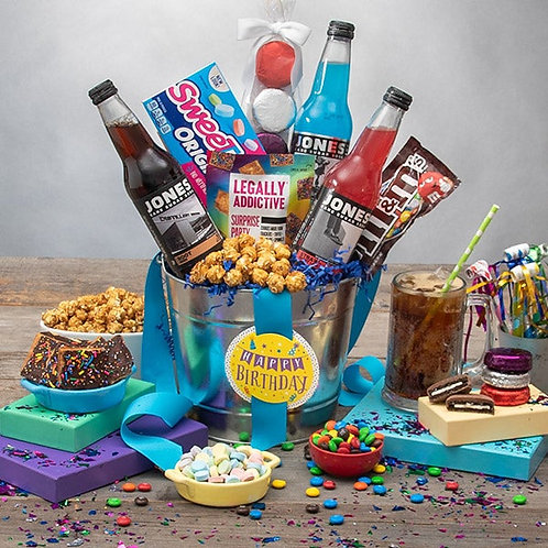 Happy Birthday Soda Bucket Gift featuring Jones Soda