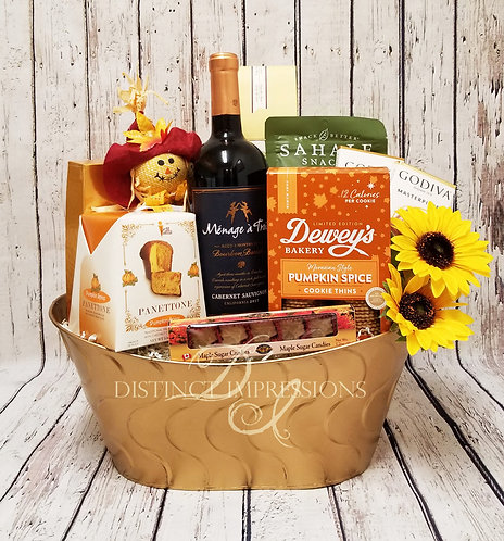 Giving Thanks Fall Gift Basket with Wine