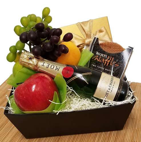 Fresh Fruit and Champagne Gift Basket