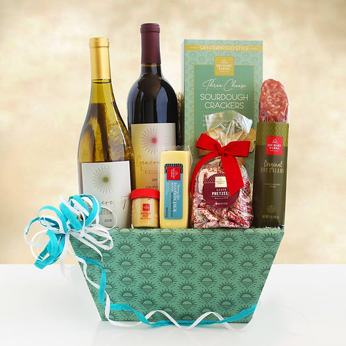 Tasting for Two Gourmet Wine Gift Basket Featuring Hickory Farms