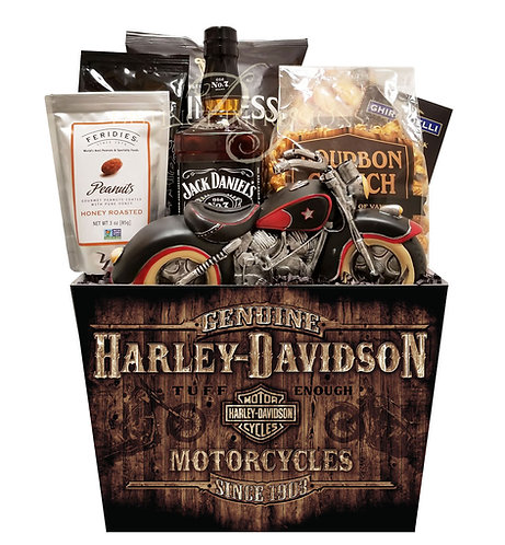 Rustic Harley Davidson Gift Basket with Jack Daniels