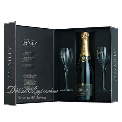 Mailly Brut Champagne Reserve Gift with 2 Glasses