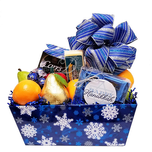 Hanukkah Fresh Fruit, Cheese and Crackers Gift Basket
