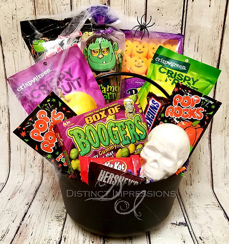 Halloween Cauldron of Snacks and Skulls Gift