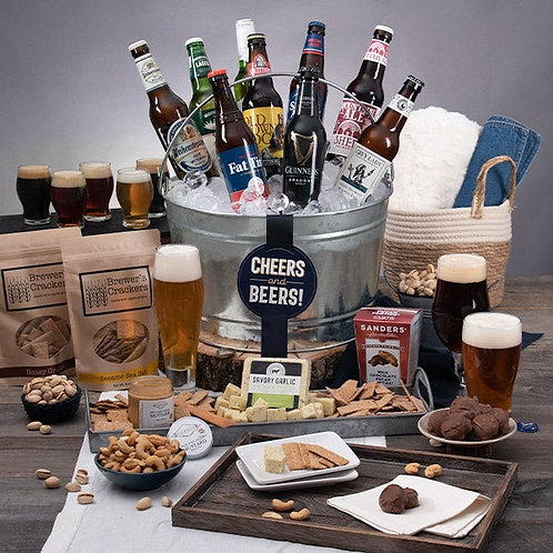 Cheers and Beers Galore Gift Bucket with Snacks