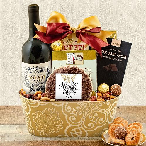 Kosher Thank You Red Wine Gift Basket